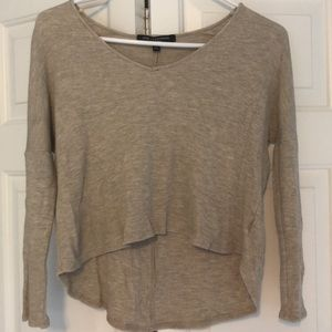 Tan V Neck Cropped Sweater